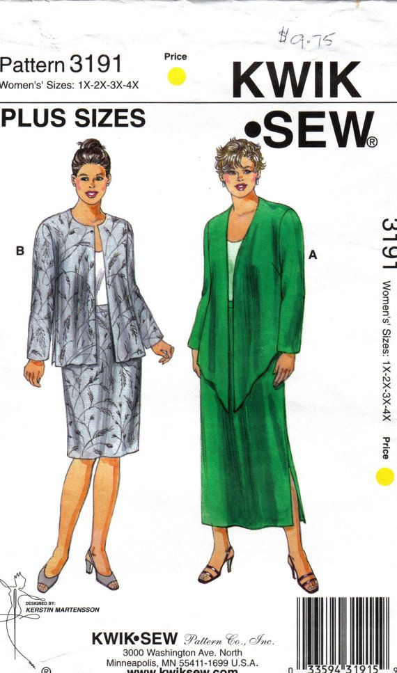 Misses Shaped Jackets and Pull On Skirts O.O.P Kwik Sew 3191 Size 1x ...