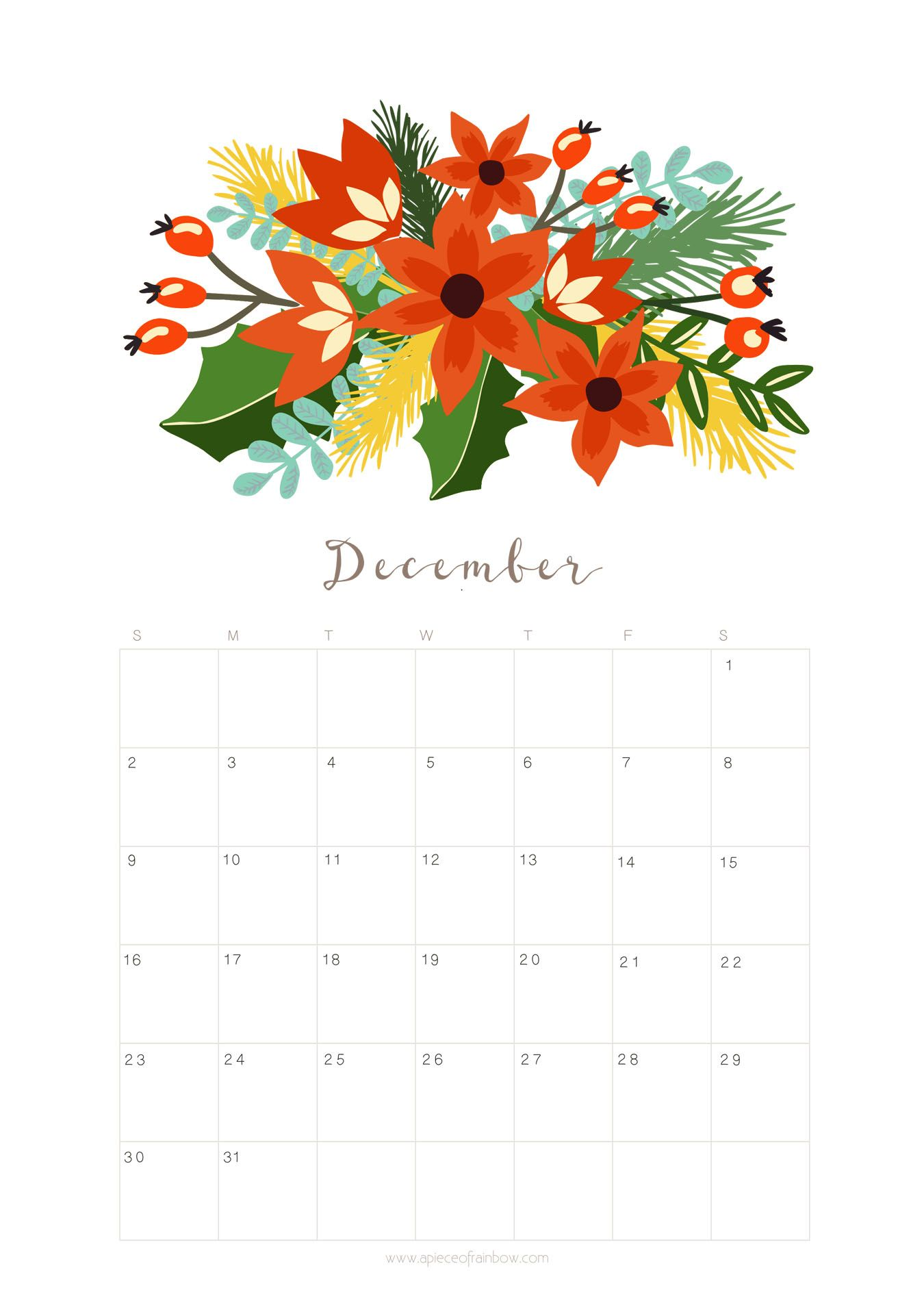 December Calendar Art : Printable december calendar monthly planner u floral design