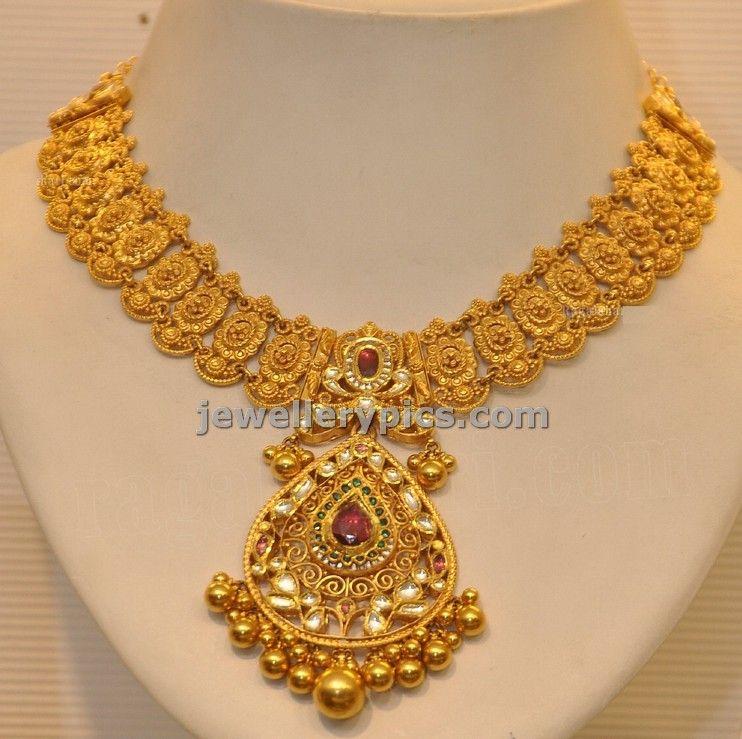 Grt Antique Necklace Design With Droplet Pendent Latest Jewellery Designs Gold Jewelry Fashion Antique Necklaces Design Gold Necklace Designs