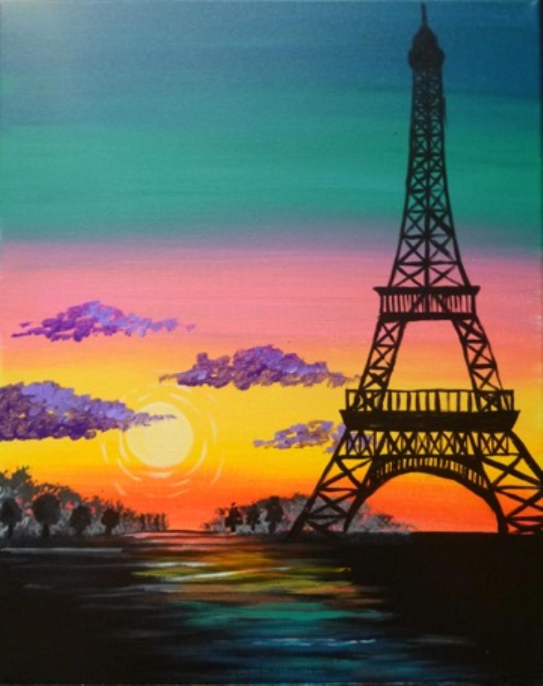Sat Aug 01 2015 7 00 10 00pm Paradise In Paris Eiffel Tower Painting Paris Painting Paris Canvas