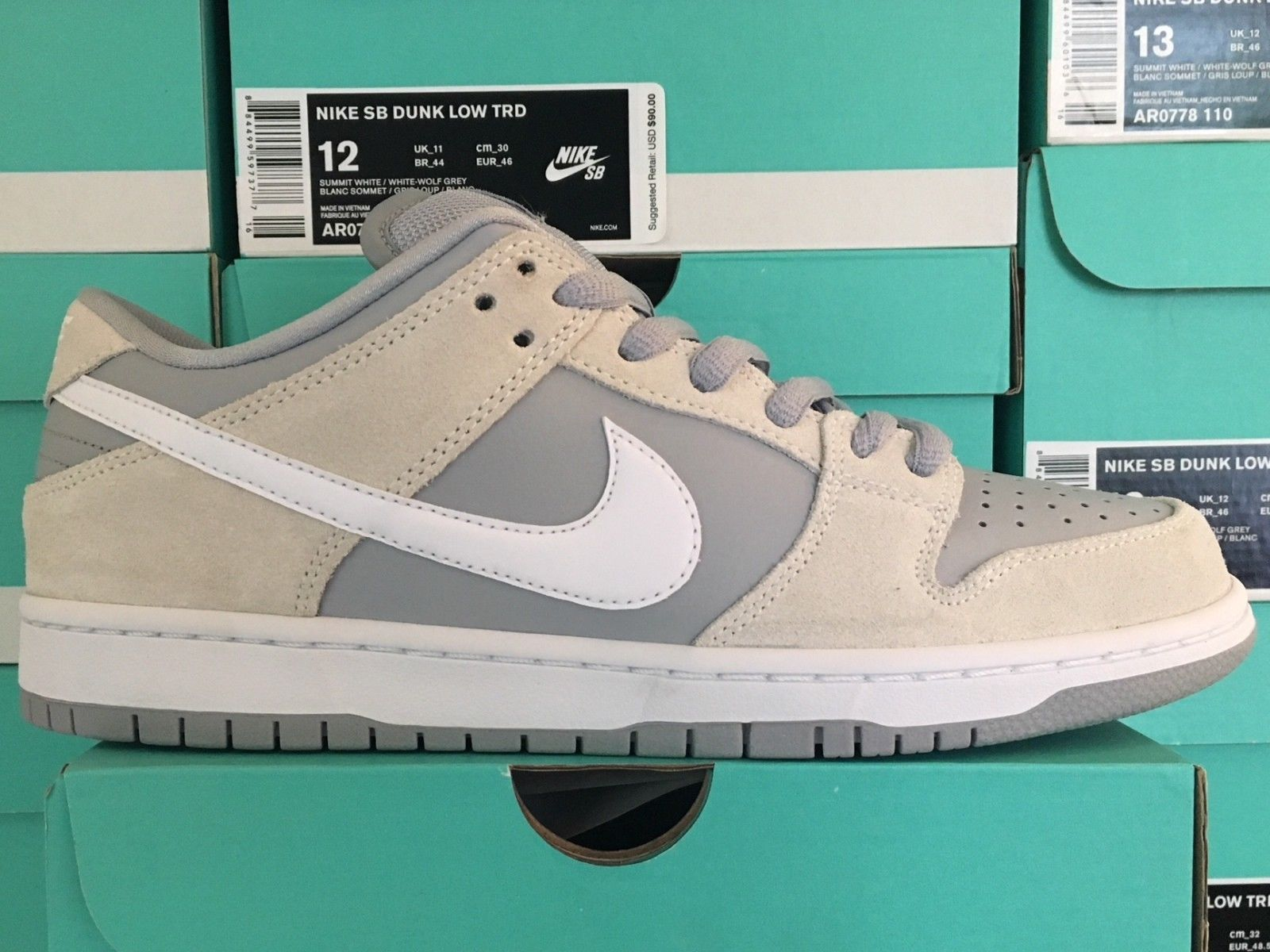 best authentic e8292 a15ff Nike SB Dunk Low TRD Summit White Wolf Grey AR0778-110 Sizes 9.5-12