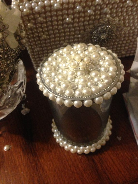 Wedding pearled seashell candle holder with lid by ThenGcreations