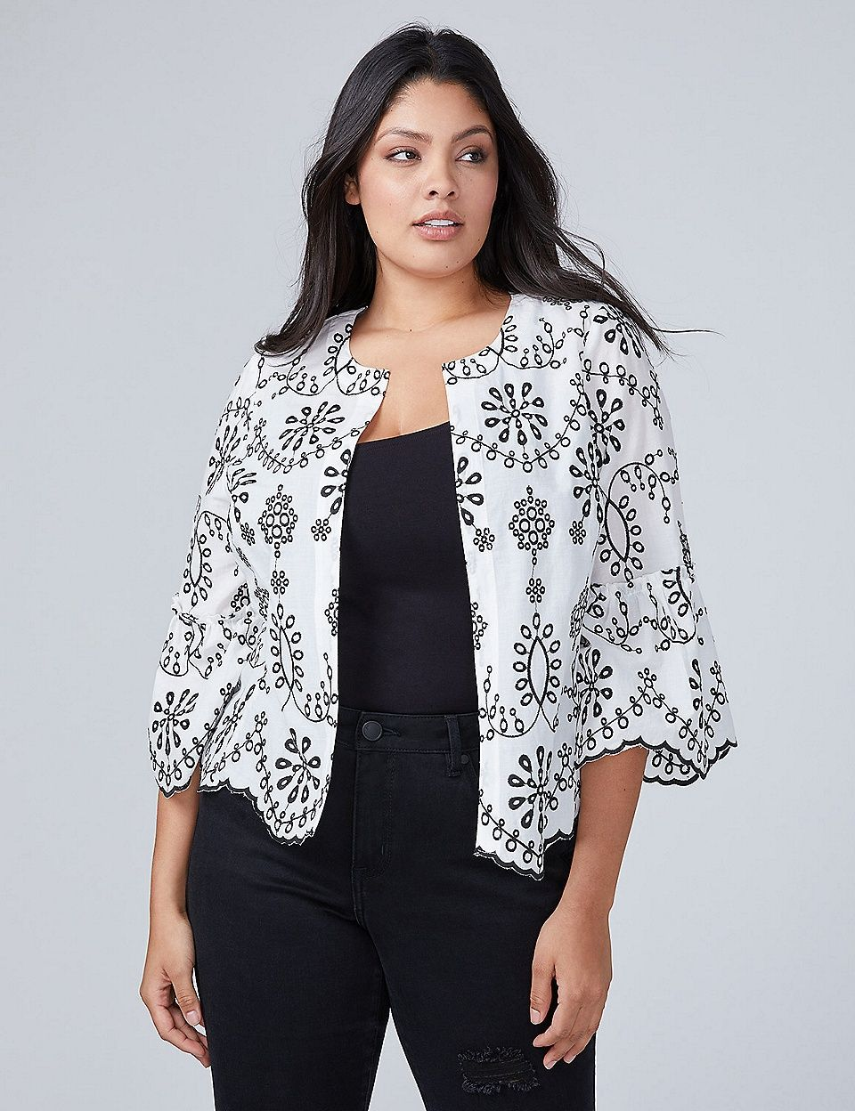 9cebe67f7f4 ... plus size peasant tops and other dressy blouses. Embroidered Woven  Jacket Top