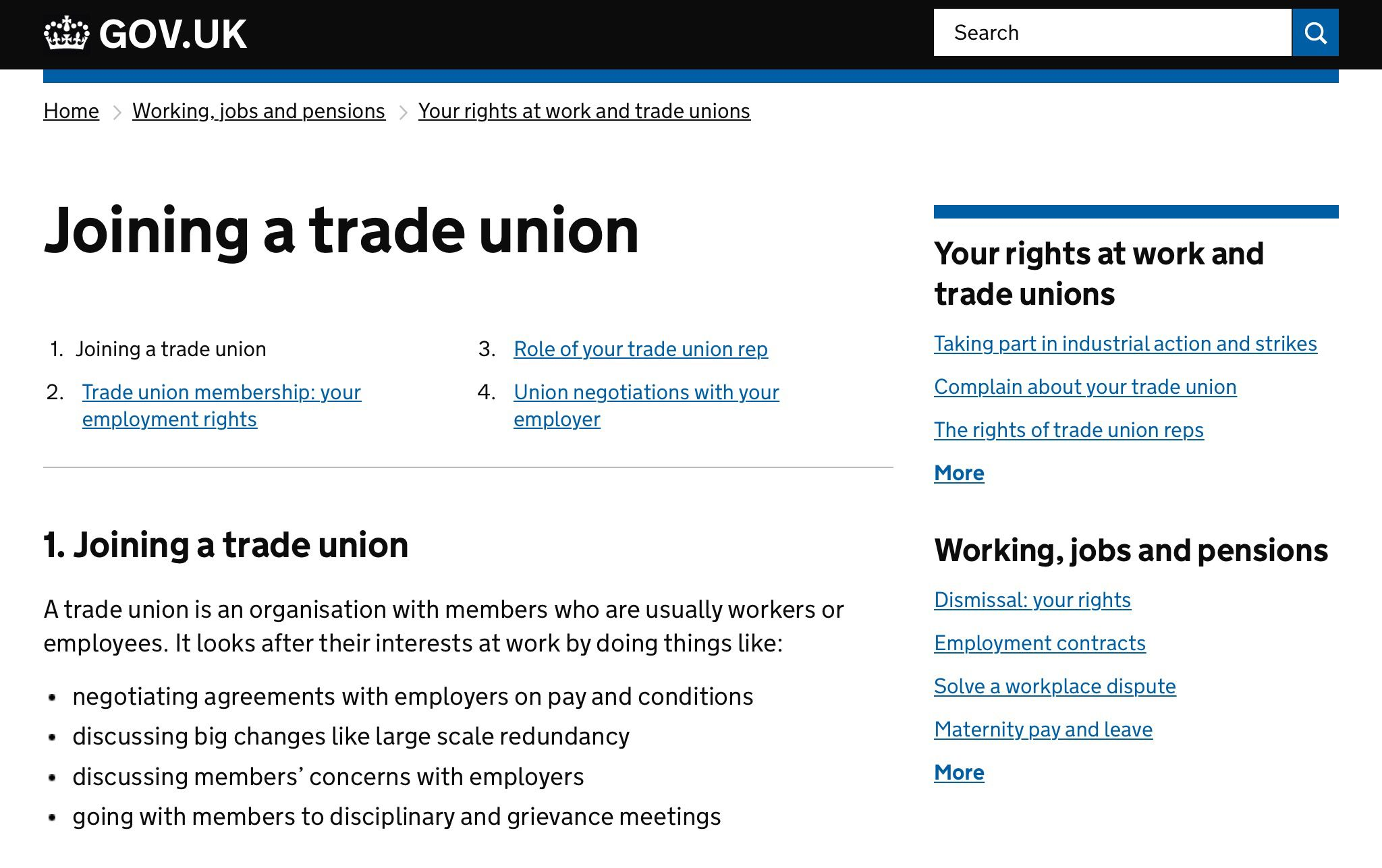 Joining a trade union UK government. Collective