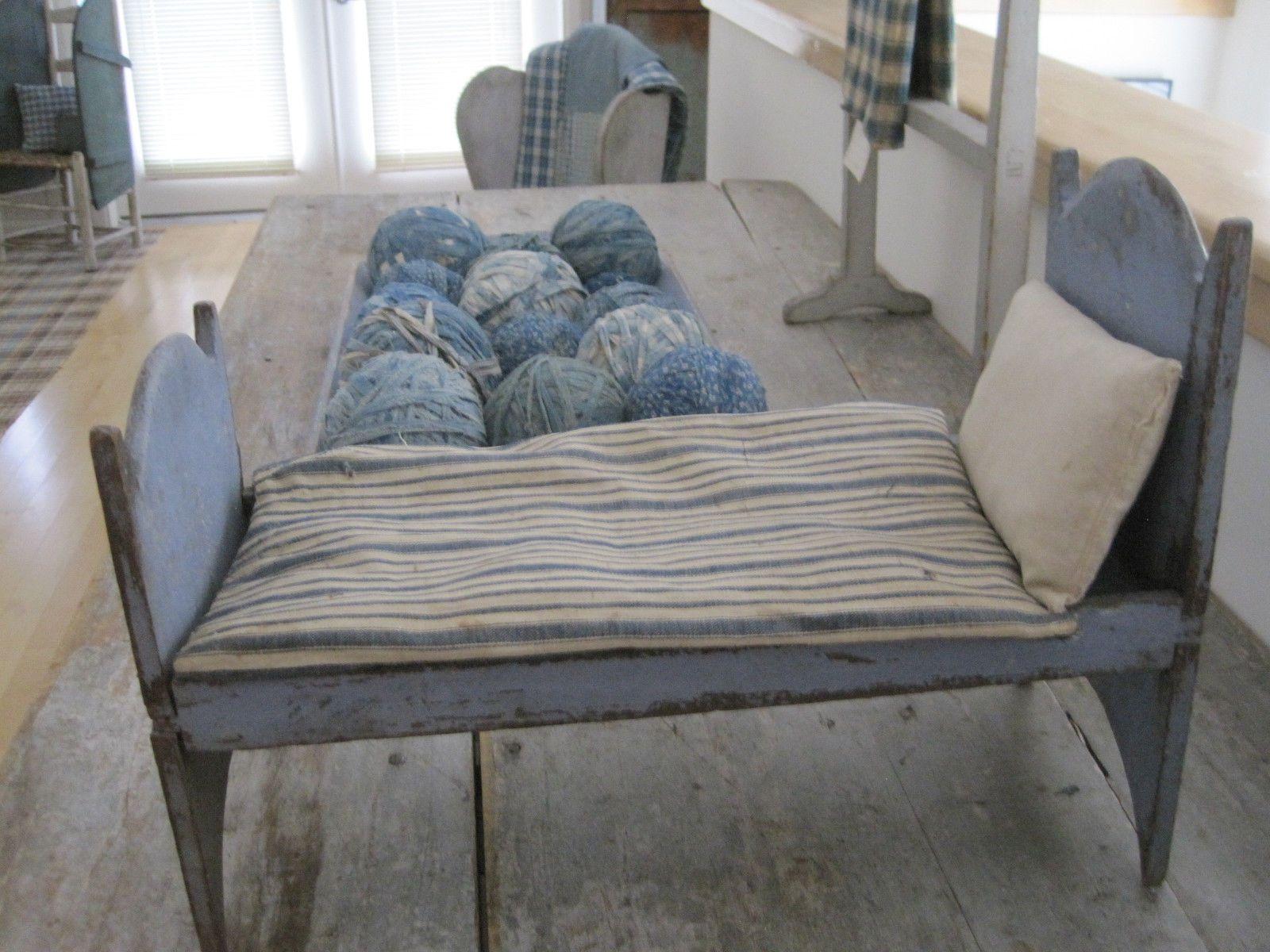 19th century primitive original dry blue paint wood doll bed square