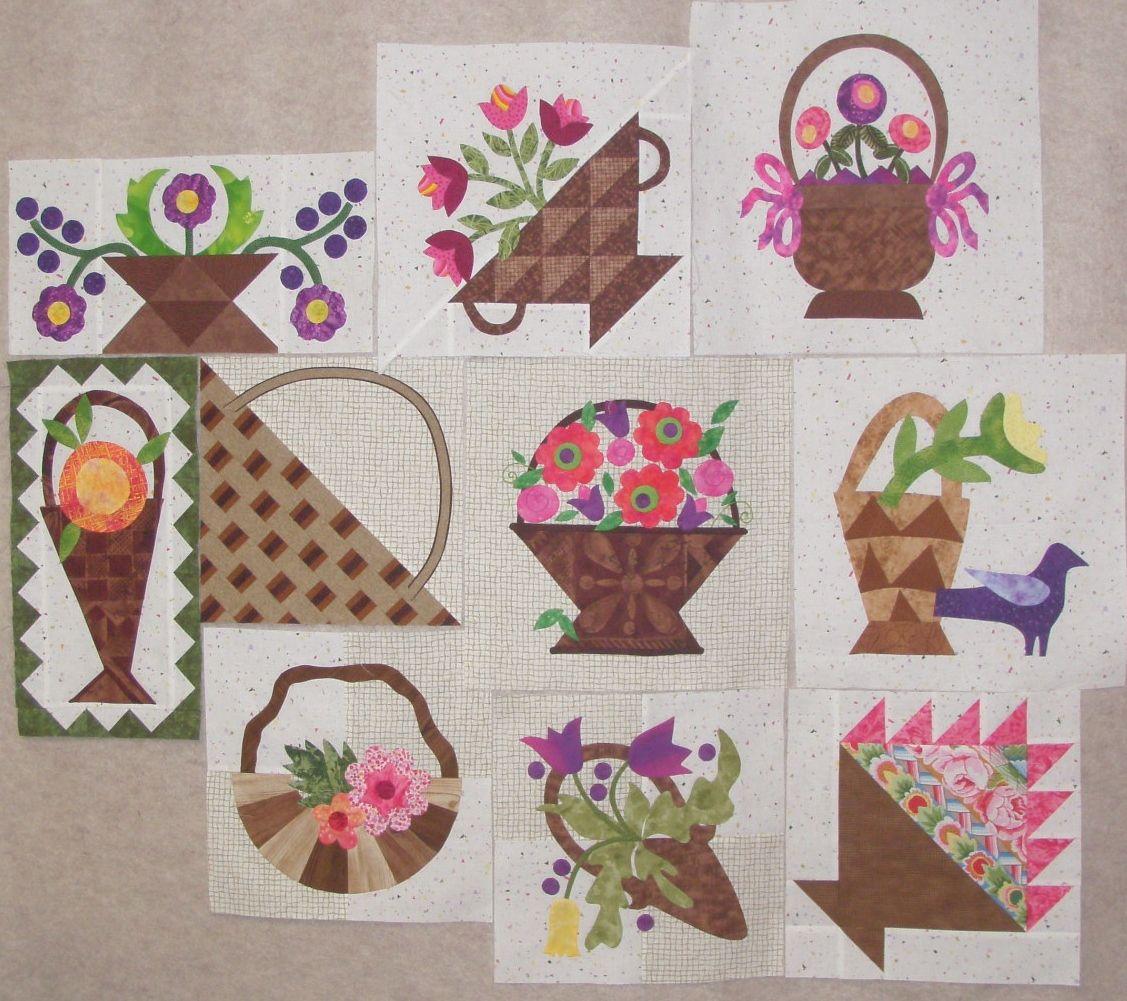 flower basket quilt block | Moda U Flower Baskets Quilt | Floral ...