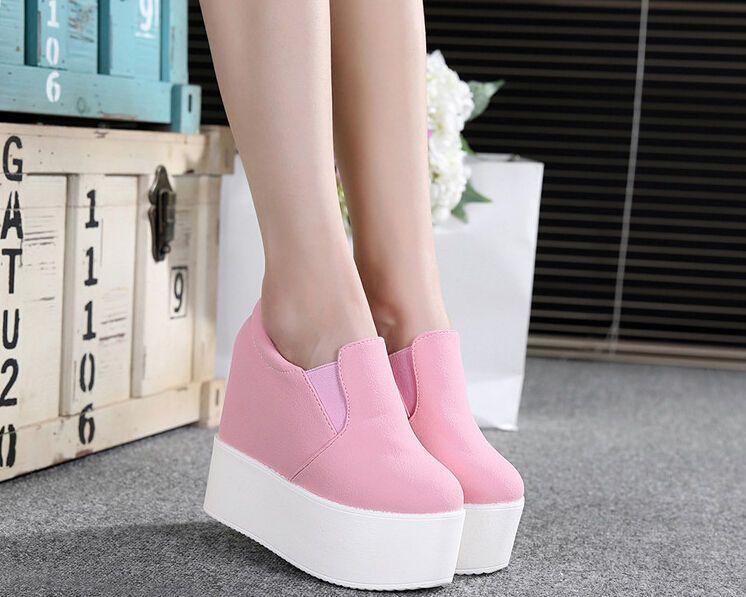 1f4c962c6c9 Fashion Women s Canvas High Platform Wedge Heel Creeper Slip On Sneakers  Shoes