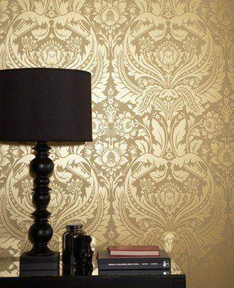 Graham  Brown Barock Tapete Desire Gold 50-026 Graham  Brown   - retro tapete wohnzimmer