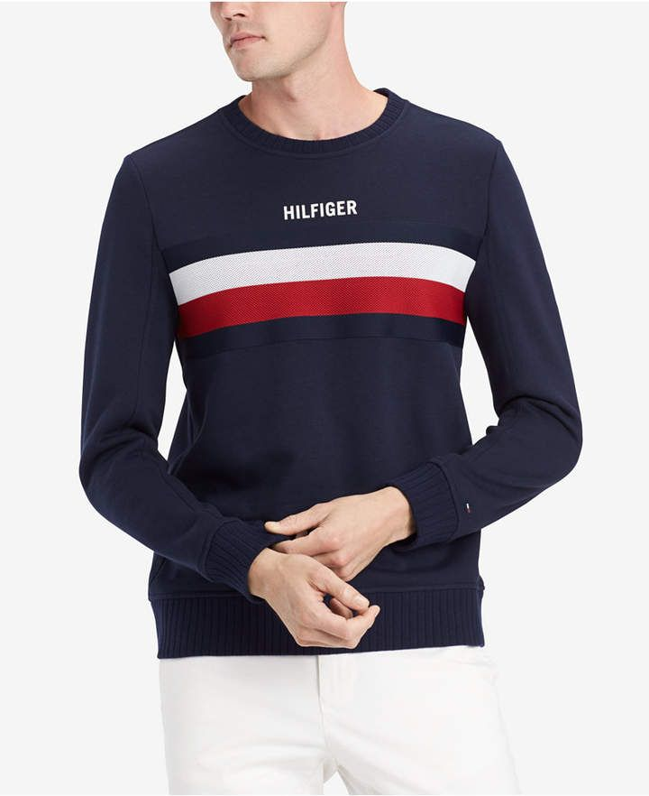 Tommy Hilfiger Men/'s Blue//Red Chris Colorblock Crew-Neck Pullover Sweater