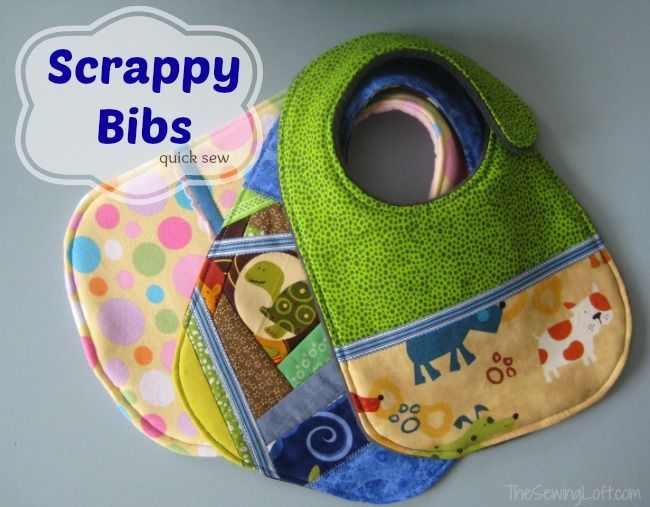 Using Scraps to make bibs | The Sewing Loft. I just can't get enough of these.  Quick and fun to make, uses small pieces of fabric and the kids love the variety.  Sewing pattern and tutorial for an easy baby bib.