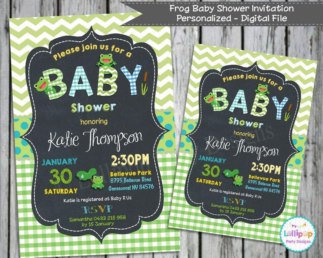 FROG Baby Shower Invitations - Personalized - Custom Invite - Baby ...