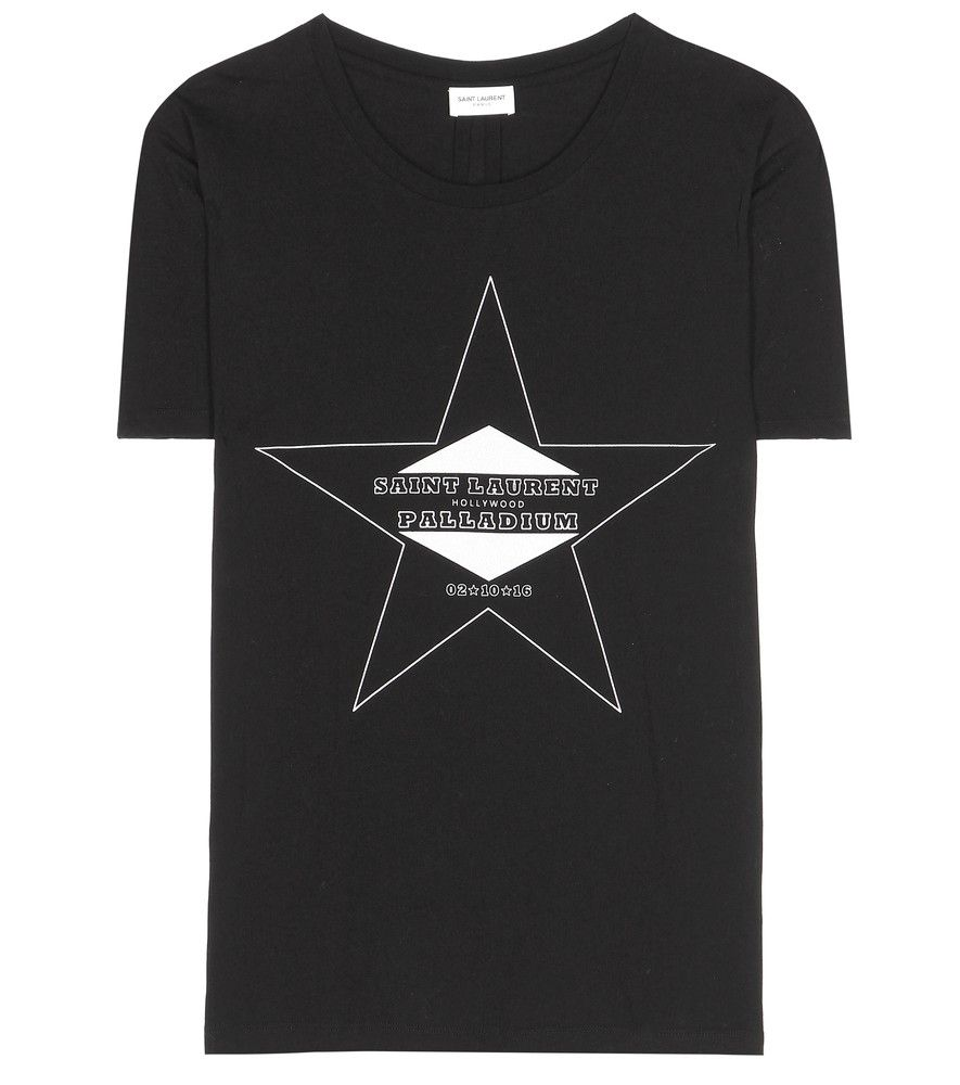 Saint Laurent - Printed cotton T-shirt - Showing a tribute to the label's runway…