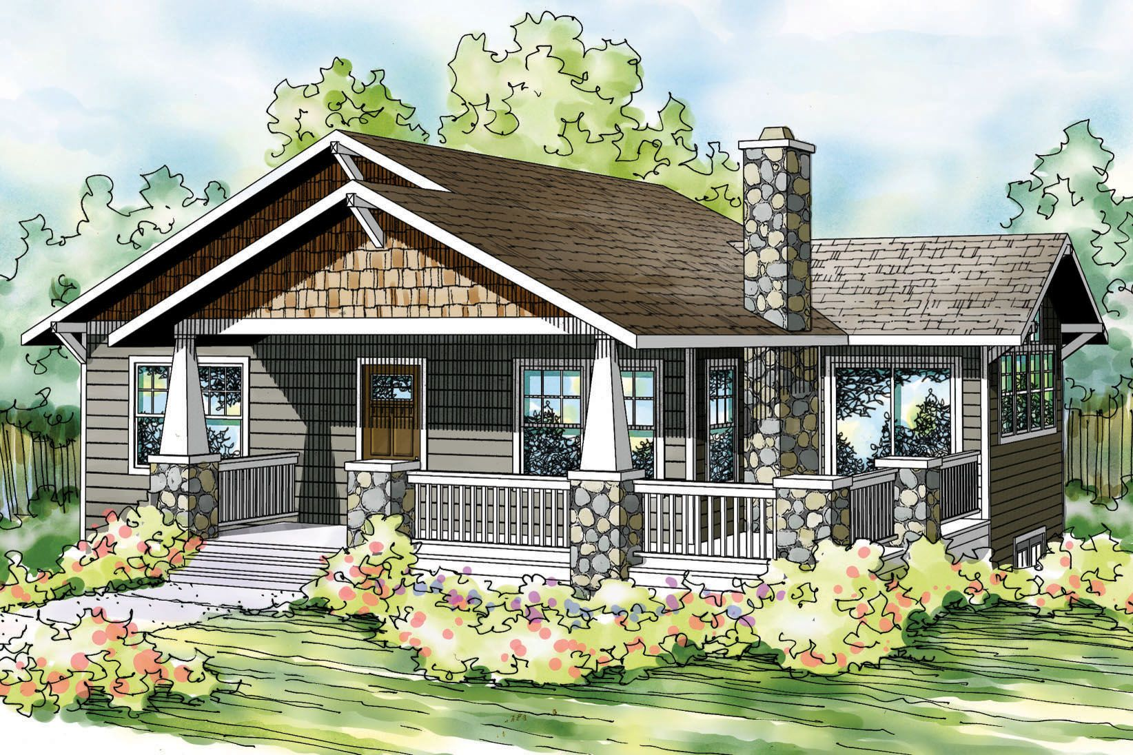 Bungalow Front Elevation In : Bungalow house plan lone rock front elevation