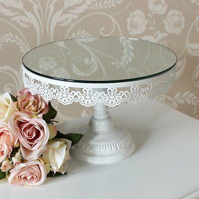 Round Ivory Shabby Mirror Cake Stand Vintage Wedding Chic Kitchen Metal Display
