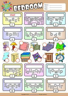 bedroom unscramble words esl vocabulary worksheet   английский