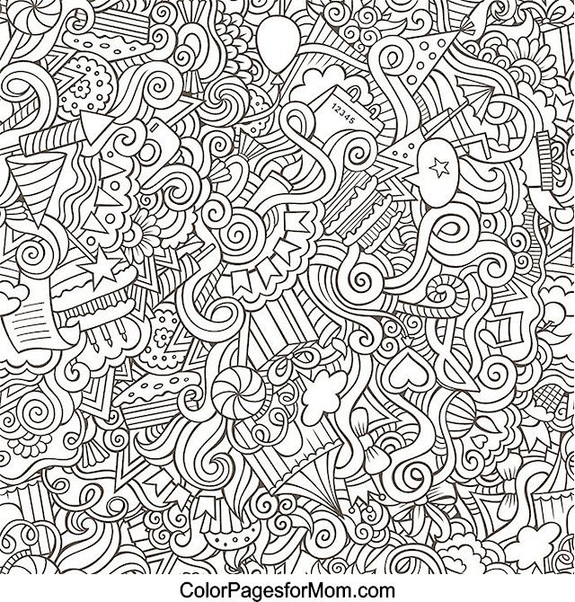 Abstract doodle zentangle paisley coloring pages colouring adult detailed advanced printable - Mandala pour adulte ...