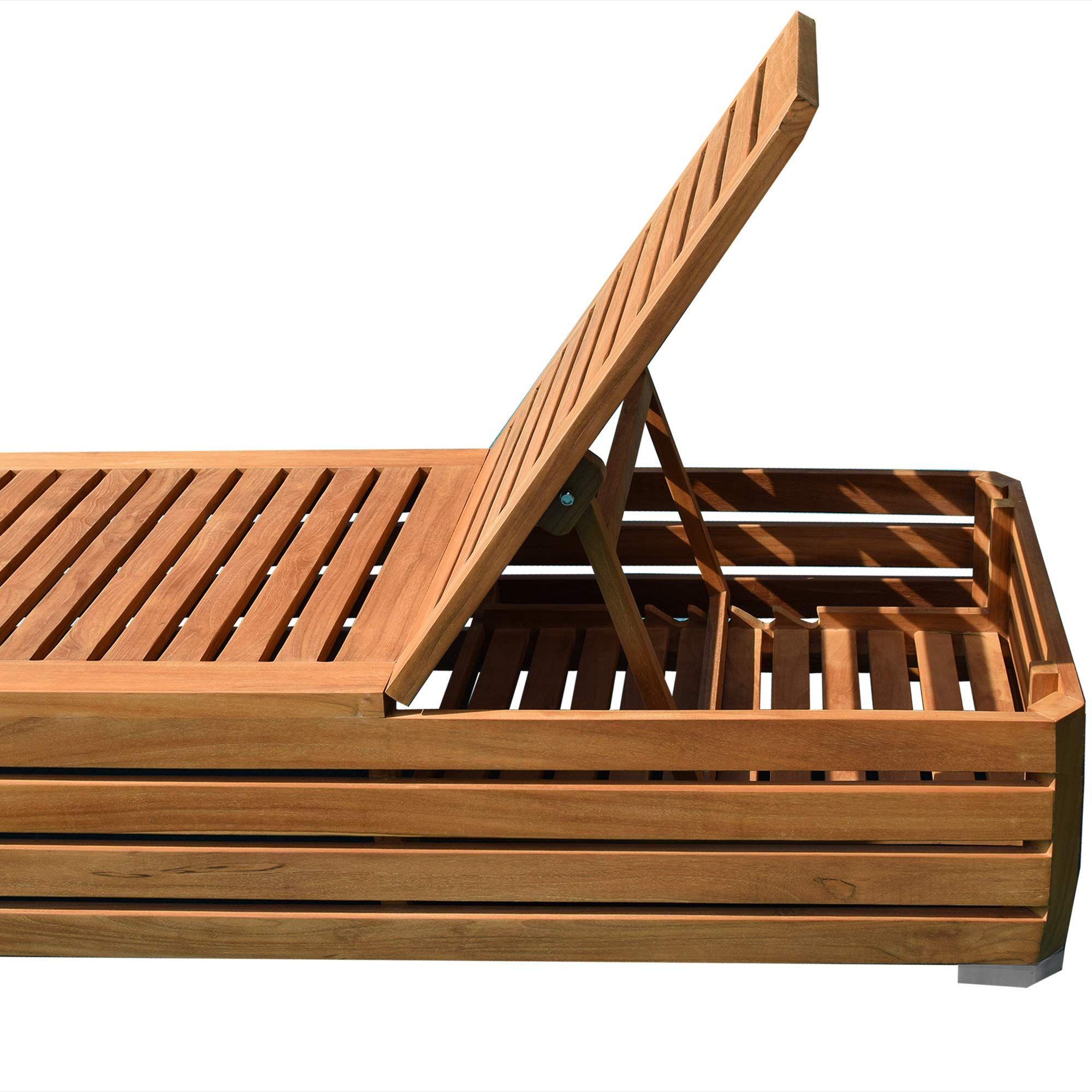 Teako Design Gartenliege Picardie Teak Unbehandeltes Massivholz Wetterfest Sonnenliege Teakholz Holzliege Relaxliege Amazon De Holzliege Teak Holz Gartenliege