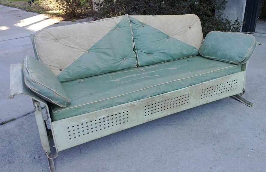 Vintage 50 S Patio Glider W Original Cushions Aluminum Vintage Outdoor Furniture Patio Furniture Cushions Vintage Patio