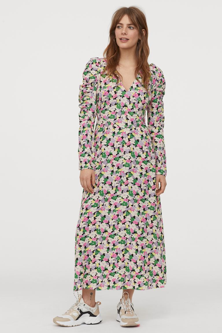 kjole i lyocellblanding - creme/blomstret - dame | h&m dk in