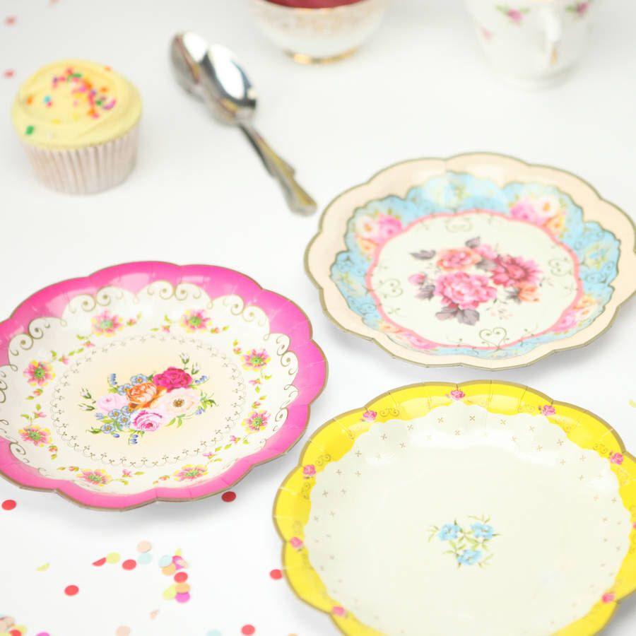 Vintage Look Paper Plates Floral Shabby Chic party Elegant Birthday Tea Party plate Baby Shower Wedding plates moms birthday  sc 1 st  Pinterest & Vintage Look Paper Plates Floral Shabby Chic party Elegant ...