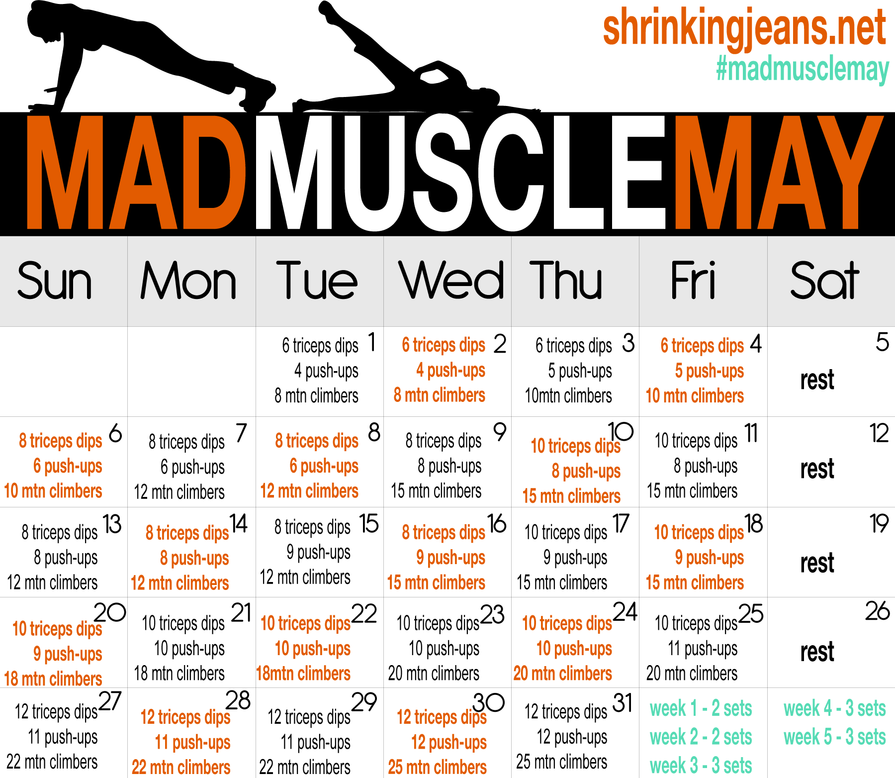 """MAD MUSCLE"" May workout calendar ~ working out your ARMS for sure!  (check out the list of other workout calendars here: http://shrinkingjeans.net/category/move-it/monthly-workout-calendar/)"