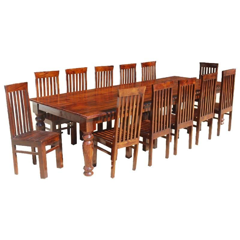 Large Solid Wood Rectangular Rustic Dining Table Chair Set