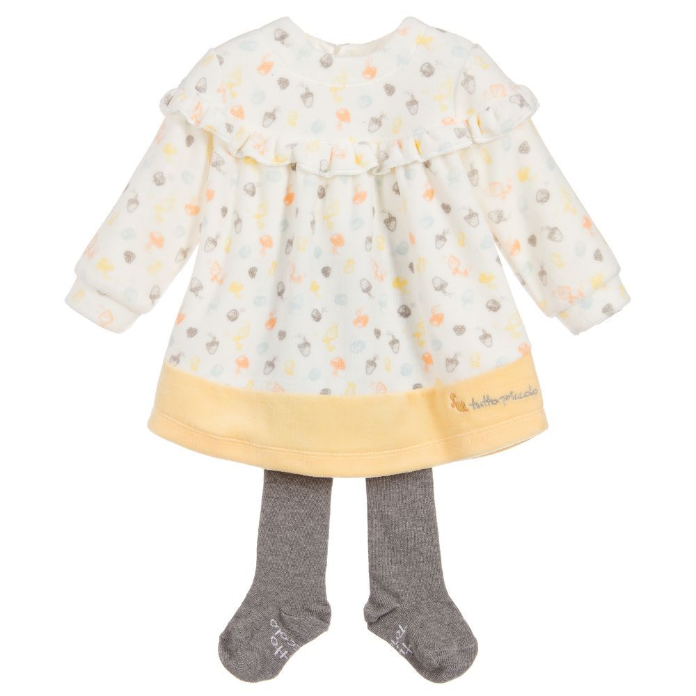 29ac2bac60c Velour Dress   Tights Set for Girl by Tutto Piccolo. Discover more  beautiful designer Dresses for kids online