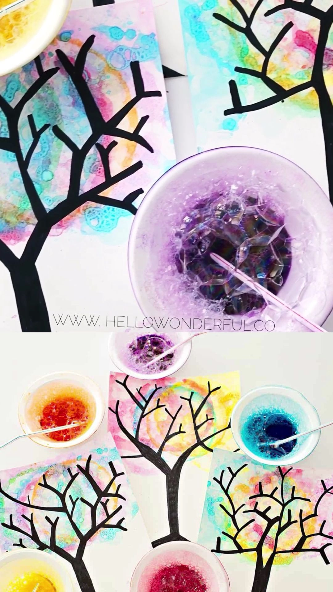 Watercolor Bubble Art Trees Watercolor Bubble Art Trees Great fall art for kids Process art and bubble painting