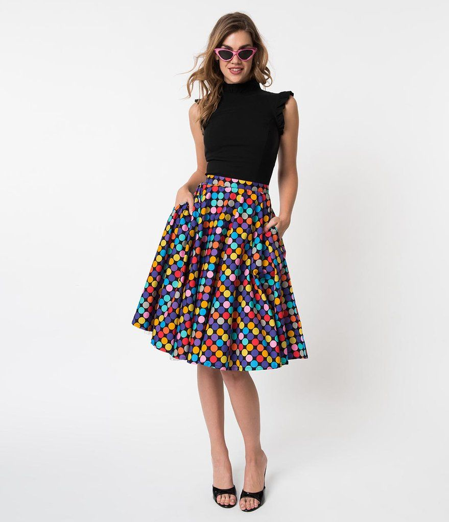 48d78532499f Vintage Style Multicolor Polka Dot Memory Orbs Cotton Circle Skirt ...