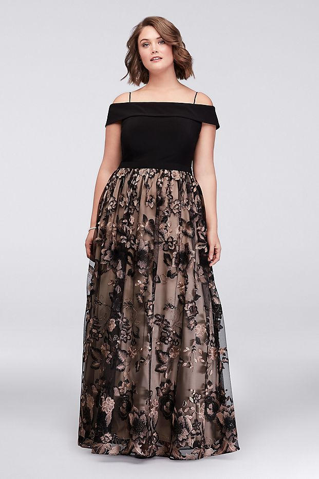 Cold Shoulder Plus Size Ball Gown with Floral Lace | David\'s ...