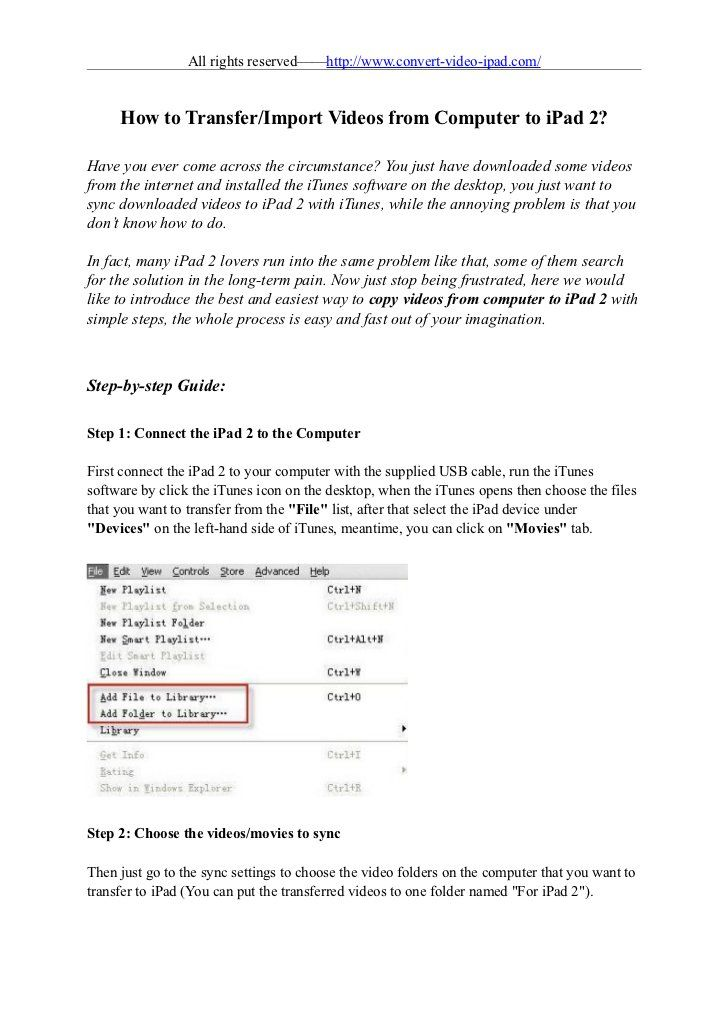 How to transfer videos from computer to ipad 2 by staefenia sun, via Slideshare