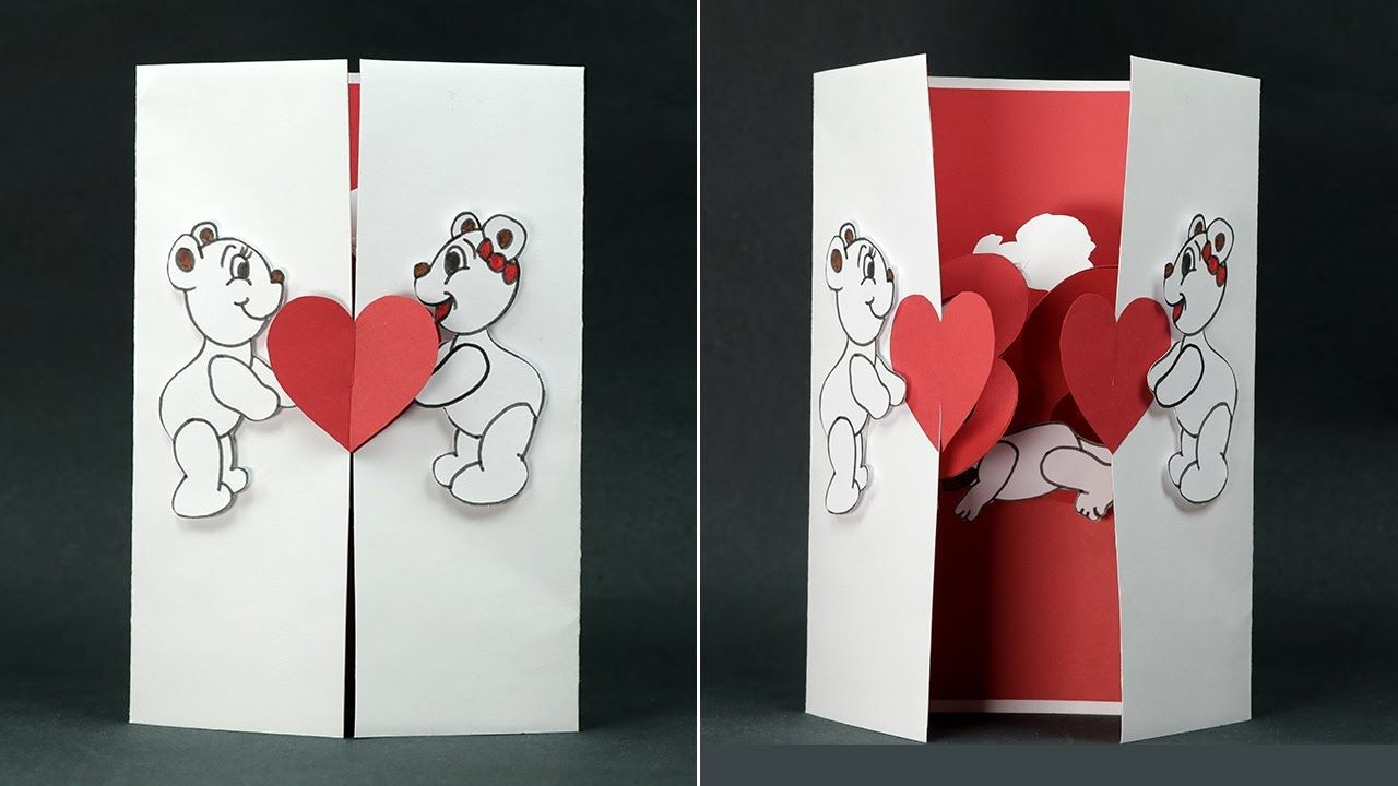Handmade Valentine Diy Card Kissing Couple Pop Up Card