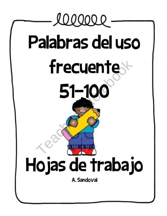Spanish High Frequency Words Work 51-100 product from Angelica ...