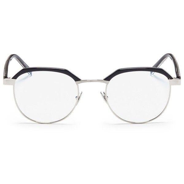 008b785cc2e Saint Laurent Acetate brow bar metal optical glasses ( 335) ❤ liked on Polyvore  featuring men s fashion