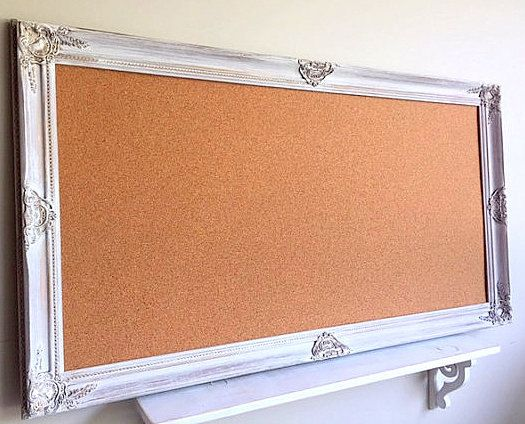65318b7311e Large FRAMED CORK BOARD Decorative Pinboard Vintage White Distressed Framed  Memo Board Wedding Seati