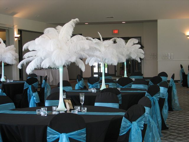 Black And Teal Wedding Colors By Kimsgiftbaskets Via Flickr I Hate These Center Pieces