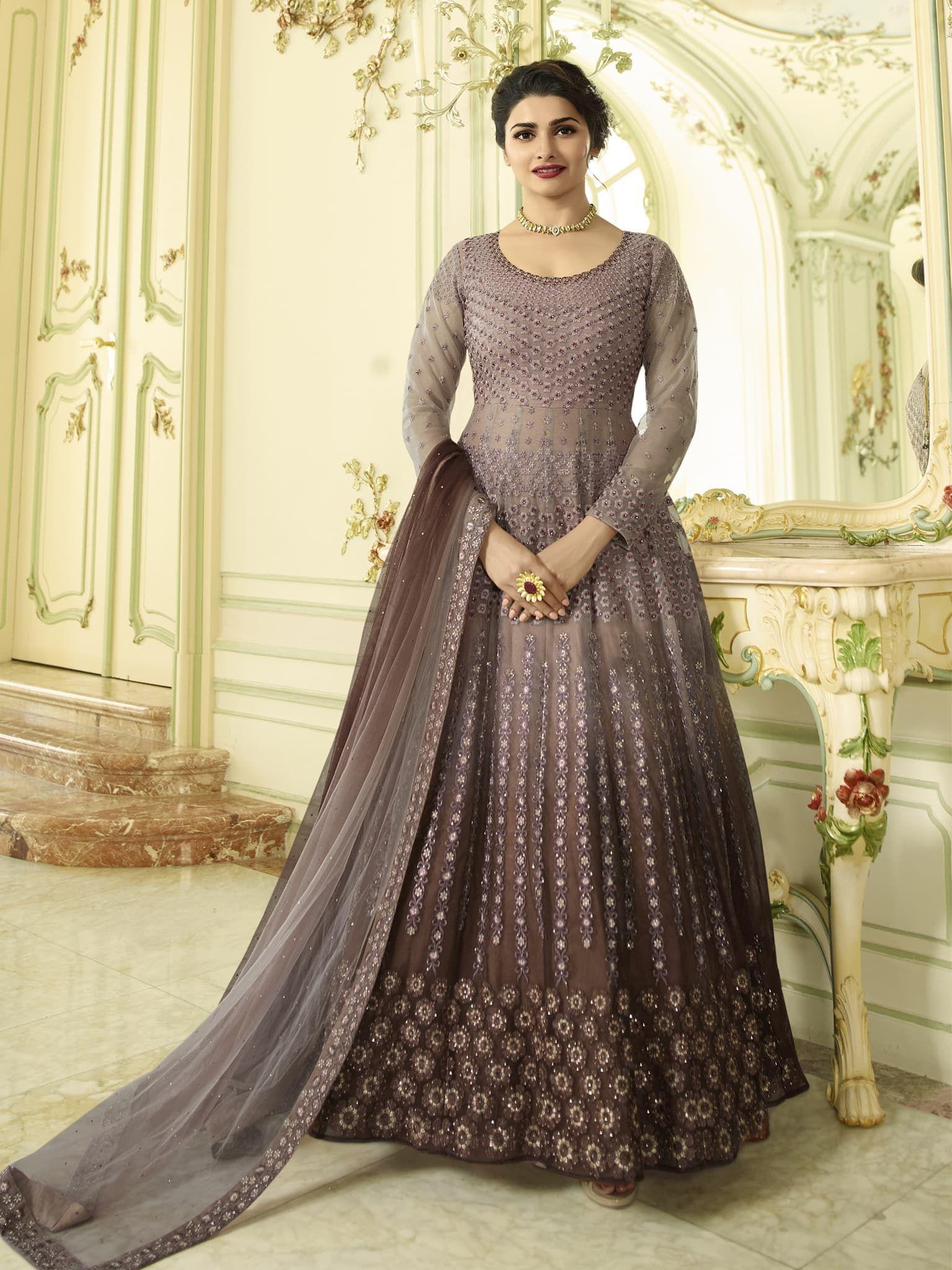dd078b2de1 Onion Pink & Brown Color Net Fabric Semi Stitch Dress Material ...