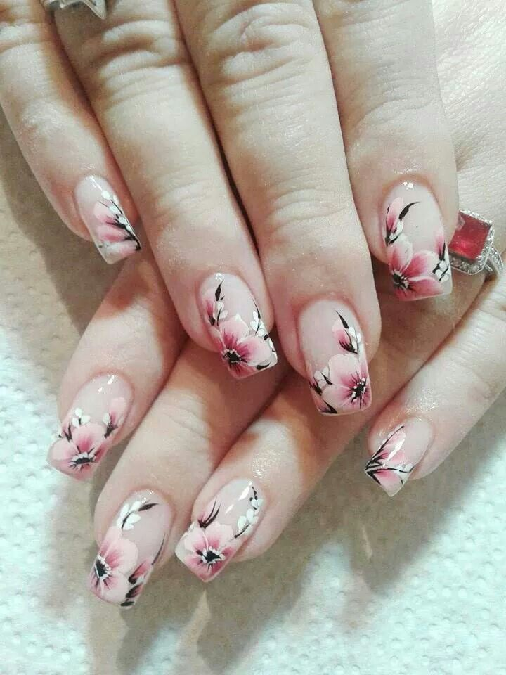 Hand Painted Flowers Cherry Blossom Nails Cherry Blossom Nails Design Floral Nail Art