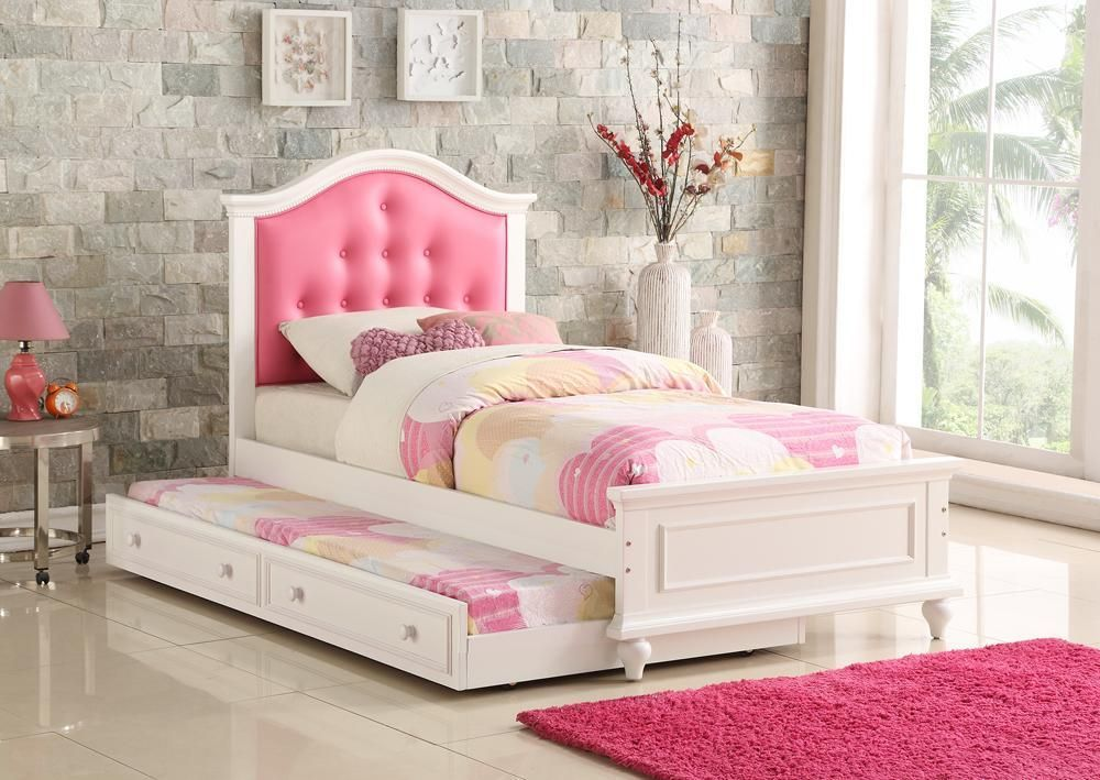 Cherub Twin Size Bed With Trundle In Pink And White By Poundex ...