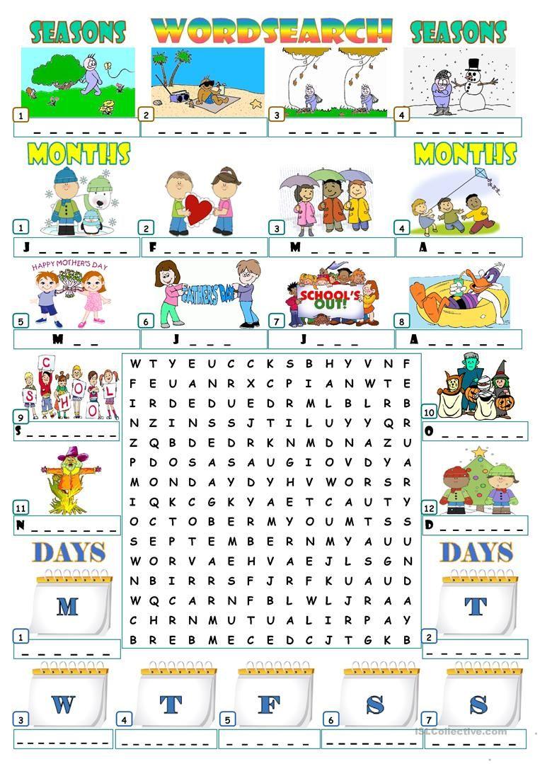 Seasons Months Days Wordsearch Seasons Worksheets English Activities Activities [ 1079 x 763 Pixel ]