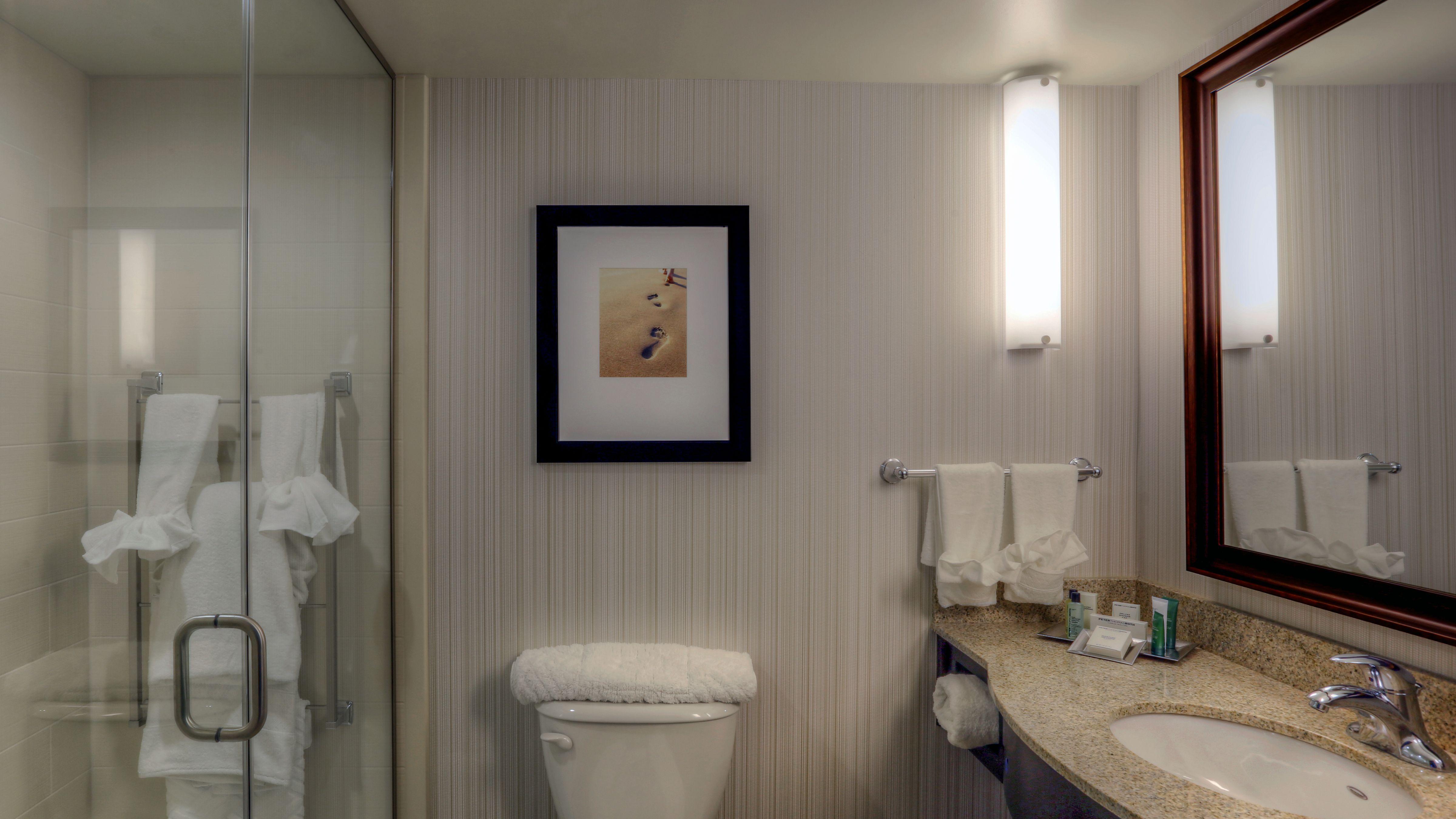 a bathroom at hilton garden inn virginia beach oceanfront