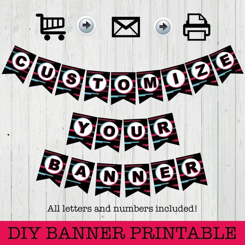 Diy Banner Printable Tiktok Instant Download Printables Etsy Printable Banner Diy Banner Happy Birthday Banners
