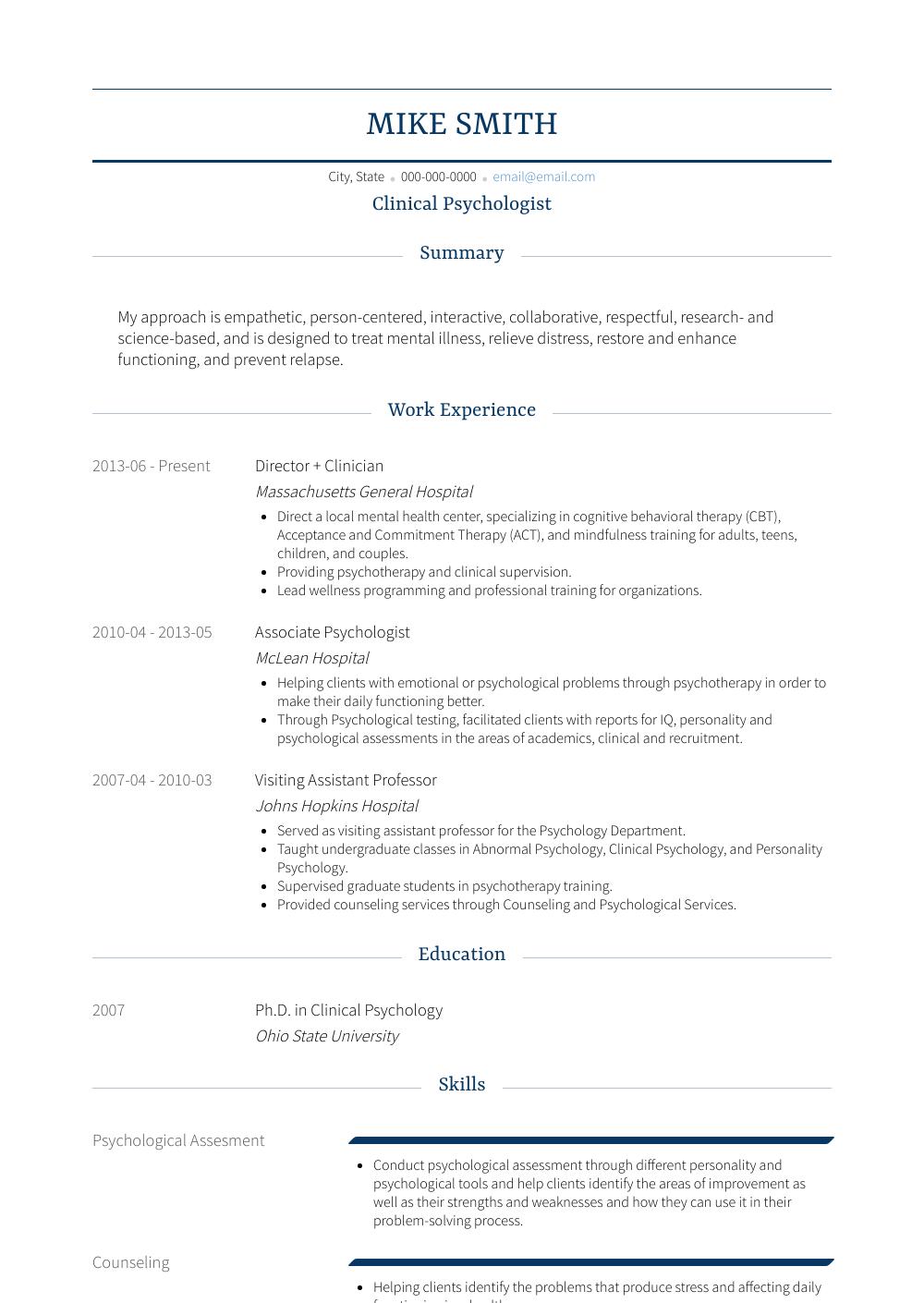 clinical psychologist resume sample