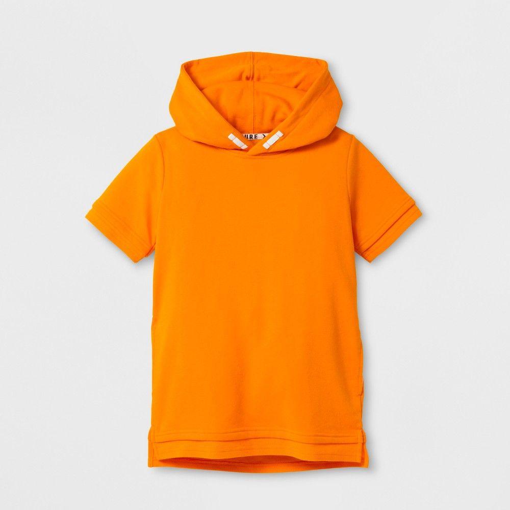 Boys short sleeve hooded tshirt art class orange