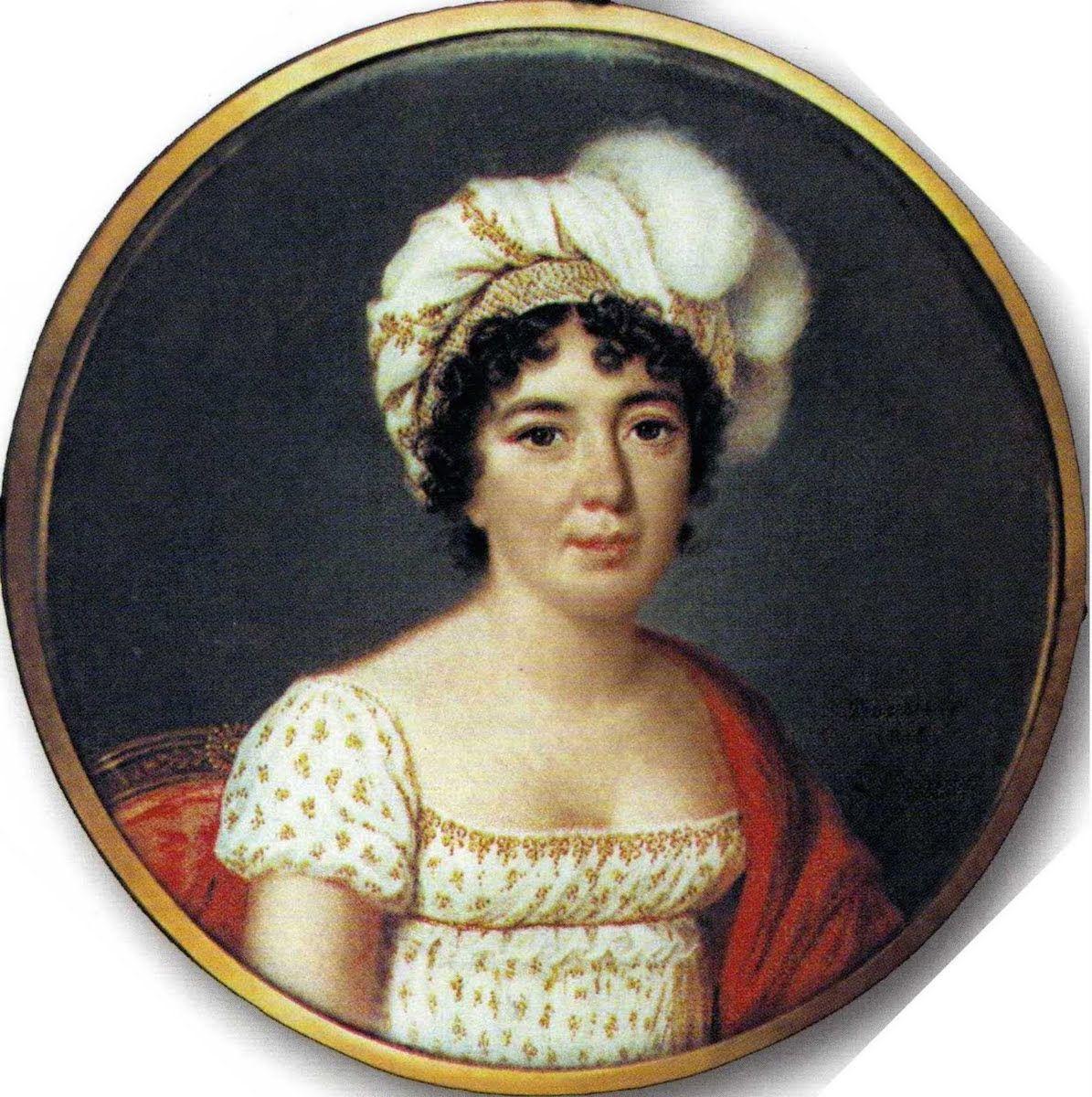 1816 Mme Stael By Pierre Louis Bouvier Chateau De Coppet Coppet Vaud Switzerland From Pinterest Com Leighhal Miniature Portraits Regency Fashion Regency