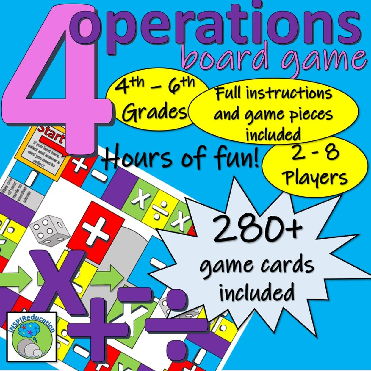 Maths Four Operation Board Game For Up To 8 Players Operation Board Game Math Board Games Board Games [ 1247 x 1247 Pixel ]