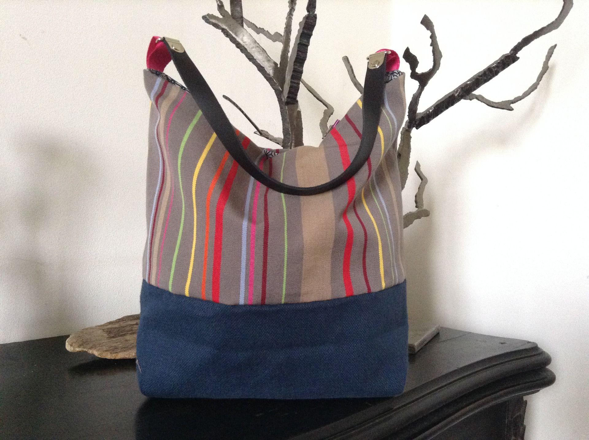 sac a main tendance fourre tout bayaderes basques gris. Black Bedroom Furniture Sets. Home Design Ideas