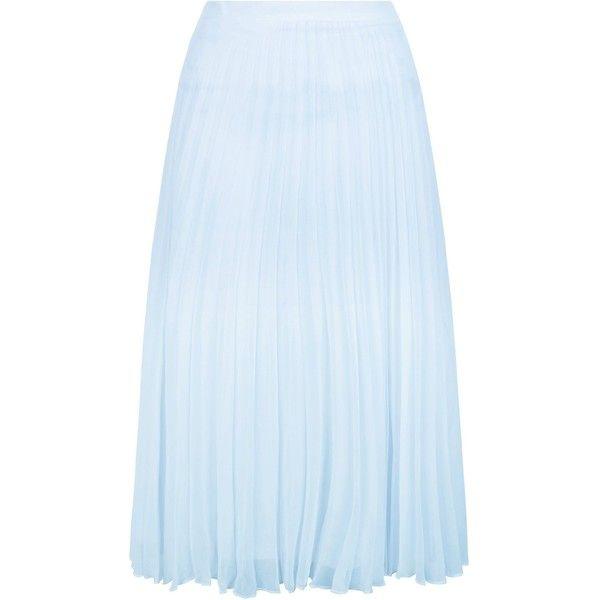 New Look Pale Blue Chiffon Pleated Midi Skirt (48 AUD) ❤ liked on ...