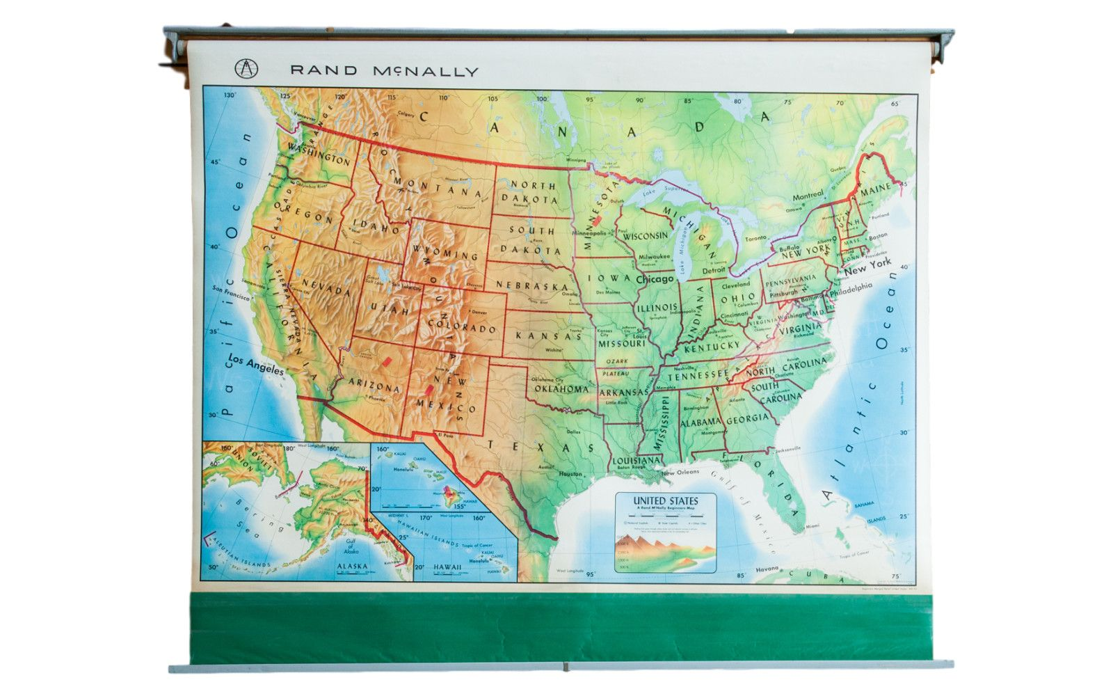 USED WORLD US UNITED STATES USA ALASKA Pull Down Classroom 3 Map Rand McNally