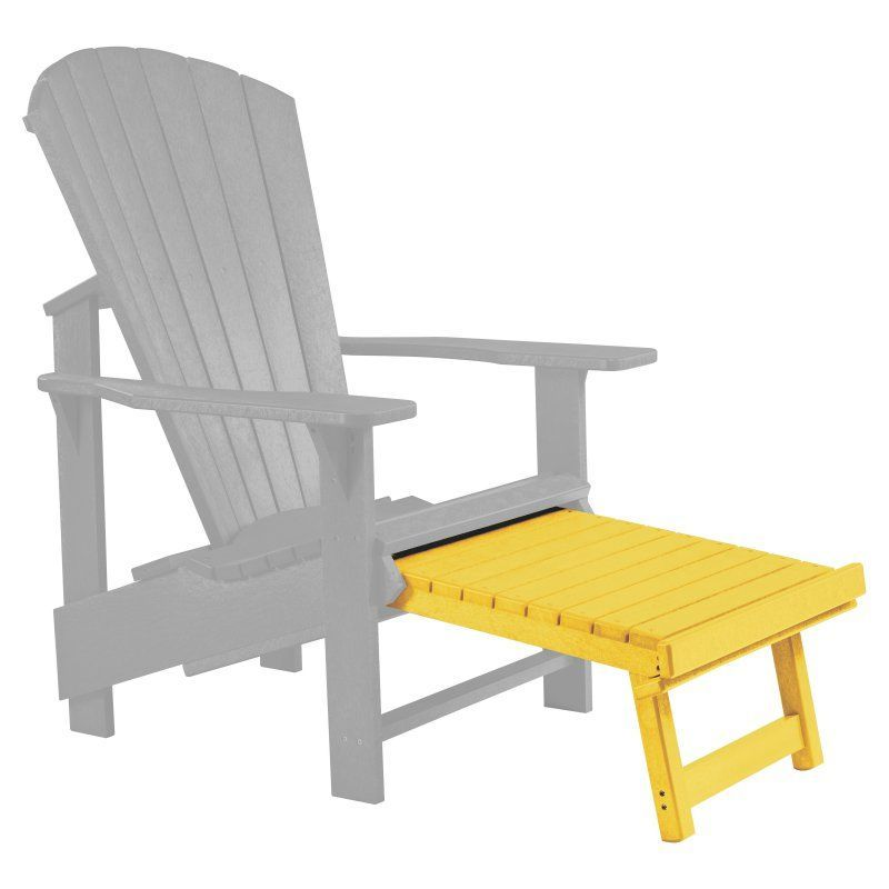 Outdoor CR Plastic Generations Upright Adirondack Chair Pull Out Footstool  Yellow   F03 04